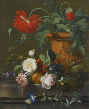 A STILL LIFE OF POPPIES IN A TERRACOTTA VASE ROSES A CARNATION AND OTHER FLOWERS Jan van Huysum classical flowers Oil Paintings
