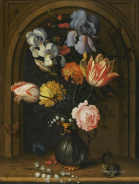 Classical Flowers Painting - Balthasar Van Der Ast Still life of irises columbines tulips roses and lily of the valley Flowering