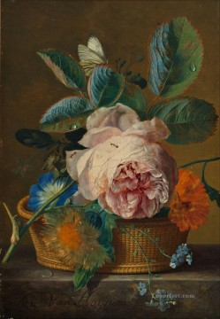 Basket with flowers Jan van Huysum classical flowers Oil Paintings