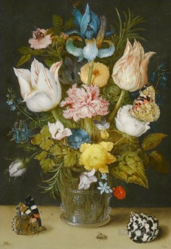 Classical Flowers Painting - Bosschaert Ambrosius Bouquet of Flowers on a Ledge