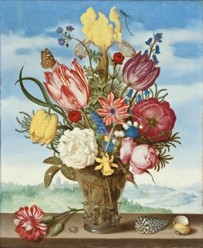 Classical Flowers Painting - Bosschaert Ambrosius Bouquet of Flowers on a Ledge Sky