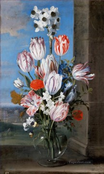 Bosschaert Ambrosius Bouquet of flowers in a glass vase on a windowsill Oil Paintings