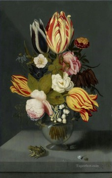 Classical Flowers Painting - Bosschaert Ambrosius Flowers and Frog