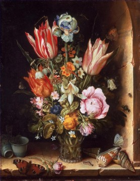 Flowers Painting - Bosschaert Ambrosius Still life with flowers and sea shells
