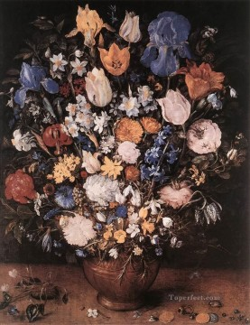 Classical Flowers Painting - Bouquet In A Clay Vase Jan Brueghel the Elder flower