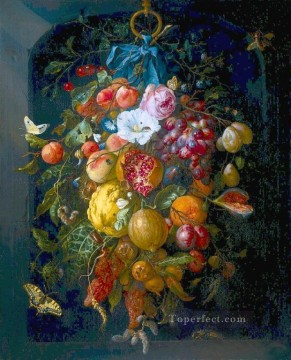 Classical Flowers Painting - Festoon flower Jan Davidsz de Heem