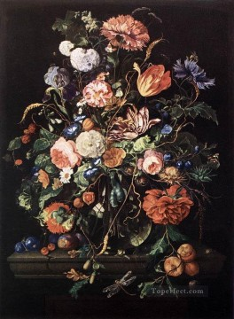 Classical Flowers Painting - Flowers In Glass And Fruits Jan Davidsz de Heem flower