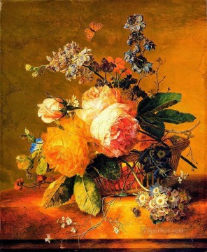 Flowers in a Basket on a marble Ledge Jan van Huysum classical flowers Oil Paintings