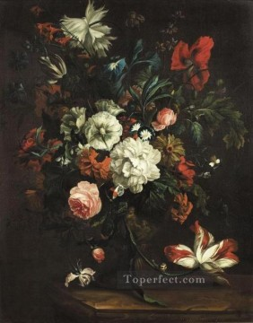 Flowers in a vase on a stone slab Justus van Huysum Oil Paintings