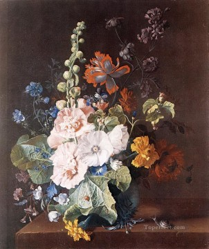 Hollyhocks and Other Flowers in a Vase Jan van Huysum classical flowers Oil Paintings