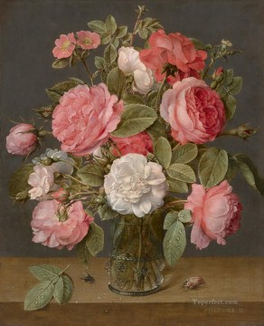 Jacob van Hulsdonck Rozen in een glazen vaas Flowering Oil Paintings