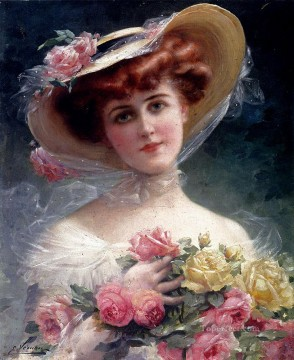 La Belle Aux Fleurs girl Emile Vernon classical flowers Oil Paintings