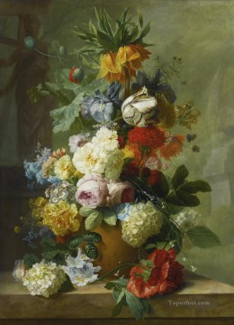 STILL LIFE OF FLOWERS IN A VASE ON A MARBLE LEDGE Jan van Huysum classical flowers Oil Paintings