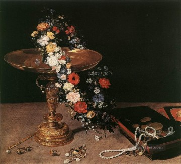flower flowers floral Painting - Still Life With Garland Of Flowers And Golden Tazza Flemish Jan Brueghel the Elder flower