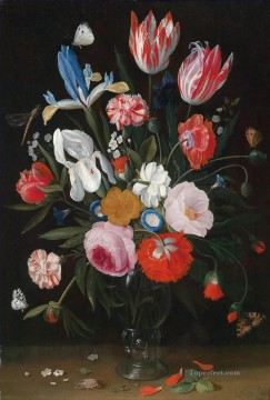 Flowers Painting - Still life with flowers Hans Gillisz Flowering