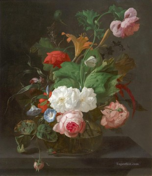 Flowers Painting - Summer Flowers in a Vase by Rachel Ruysch Flowering