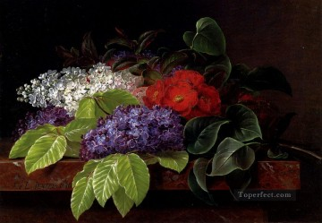 Classical Flowers Painting - White And Purple Lilacs Camellia And Beech Leaves On A Marble Ledge Johan Laurentz Jensen flower