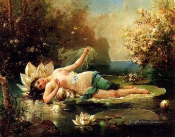 A Water Idyll 2 Hans Zatzka classical flowers Oil Paintings