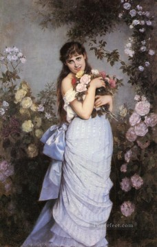 A Young Woman In A Rose Garden Auguste Toulmouche classical flowers Oil Paintings