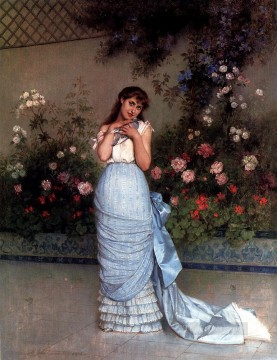 Classical Flowers Painting - An Elegant Beauty woman Auguste Toulmouche classical flowers