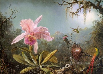 Classical Flowers Painting - Cattelya Orchid and Three Brazilian Hummingbirds flower painter Martin Johnson Heade