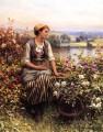 Daydreaming countrywoman Daniel Ridgway Knight Flowers