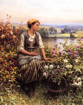 Classical Flowers Painting - Daydreaming countrywoman Daniel Ridgway Knight Flowers