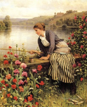 Fishing countrywoman Daniel Ridgway Knight classical flowers Oil Paintings