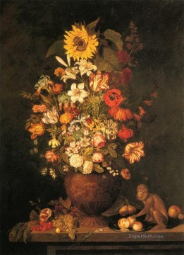 Classical Flowers Painting - Flowers Still Life with Monkey Flowering