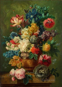 Flowers and Green Leaves Flowering Oil Paintings