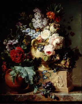 Classical Flowers Painting - Flowers in Jar on Sculpture Flowering