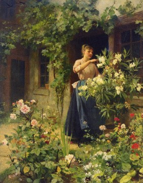 Gardening genre Victor Gabriel Gilbert classical flowers Oil Paintings