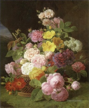 Classical Flowers Painting - Jan Frans van Dael roses peonies and other flowers on a ledge Flowering