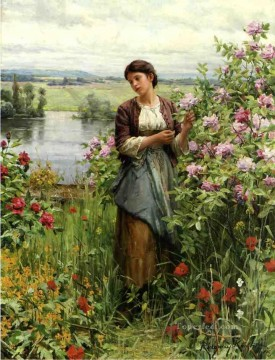 Classical Flowers Painting - Julia among the Roses countrywoman Daniel Ridgway Knight Flowers