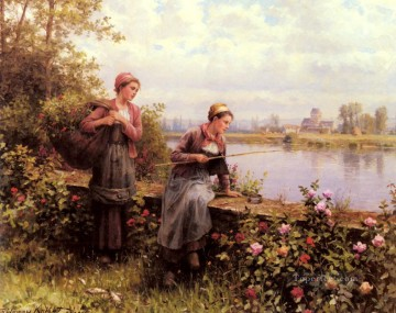 Made Oil Painting - Maria And Madeleine Fishing countrywoman Daniel Ridgway Knight Flowers