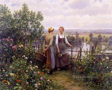Made Oil Painting - Maria and Madeleine on the Terrace countrywoman Daniel Ridgway Knight Flowers