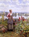 Maria on the Terrace with a Bundle of Grass countrywoman Daniel Ridgway Knight Flowers
