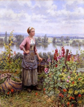 Classical Flowers Painting - Maria on the Terrace with a Bundle of Grass countrywoman Daniel Ridgway Knight Flowers