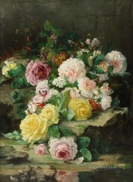 Classical Flowers Painting - Pink White yellow Roses Flowering