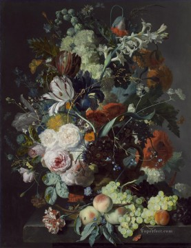 Still Life with Flowers and Fruit 2 Jan van Huysum classical flowers Oil Paintings