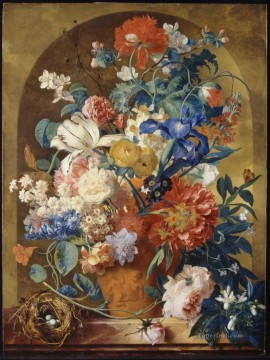 Still life of flowers in a terracotta vase before a niche Jan van Huysum classical flowers Oil Paintings