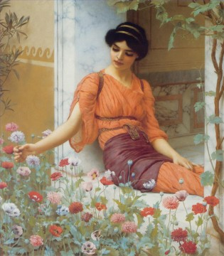 Classical Flowers Painting - Summer Flowers 1903 Neoclassicist lady John William Godward