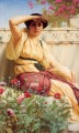 Tryst Neoclassicist lady John William Godward classical flowers