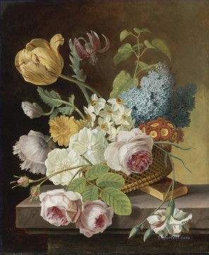 Classical Flowers Painting - Tulips and Roses Flowering