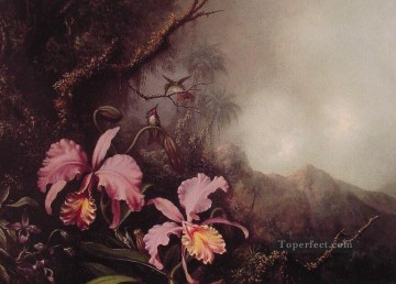 Classical Flowers Painting - Two Orchids in a mountain Landscape flower painter Martin Johnson Heade