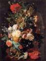 Vase of Flowers in a Niche 2 Jan van Huysum classical flowers
