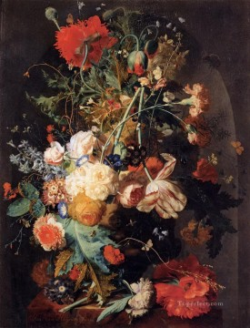 Vase of Flowers in a Niche 2 Jan van Huysum classical flowers Oil Paintings