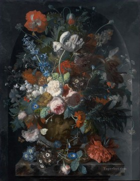 Vase of Flowers in a Niche Jan van Huysum classical flowers Oil Paintings