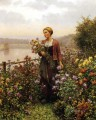 Woman in a Garden countrywoman Daniel Ridgway Knight Flowers