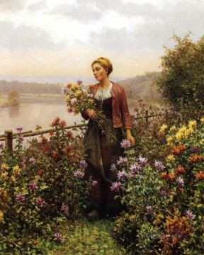 Woman in a Garden countrywoman Daniel Ridgway Knight Flowers Oil Paintings